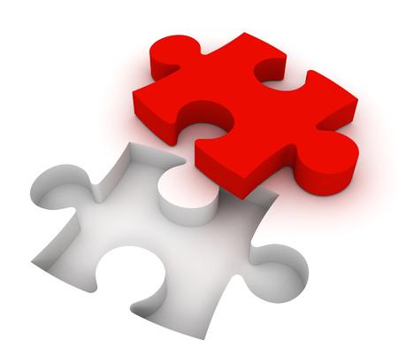 puzzle 3D-afbeelding op een witte achtergrond Stockfoto