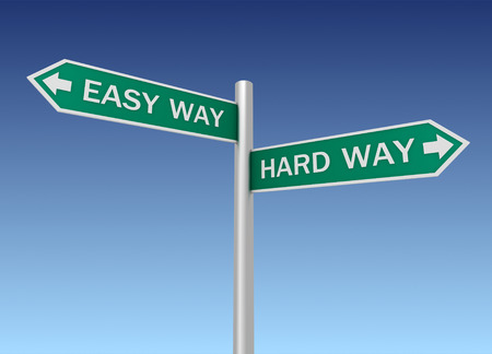 difficult lives: easy hard way road sign 3d concept illustration on sky background Stock Photo