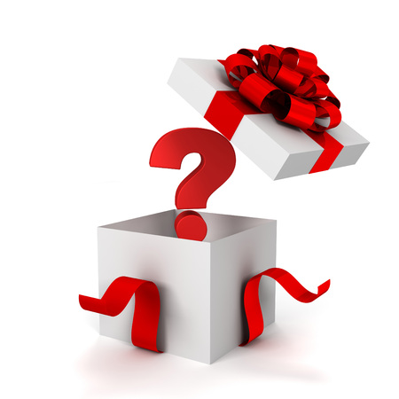 question gift box 3d illustration isolated on white background Standard-Bild