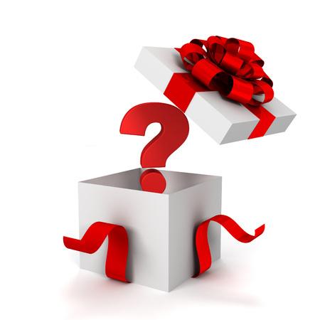 vraag geschenkdoos 3D-afbeelding op een witte achtergrond