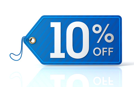 discount tag: 3d illustration of 10% discount tag isolated on white  background Stock Photo