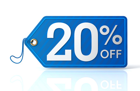 3d illustration of 20% discount tag isolated on white  background