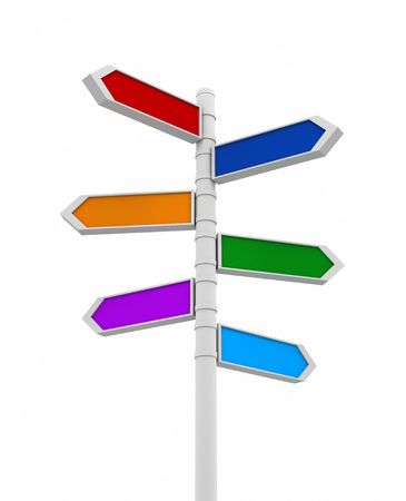 coloured signpost 3d illustration on white background 免版税图像