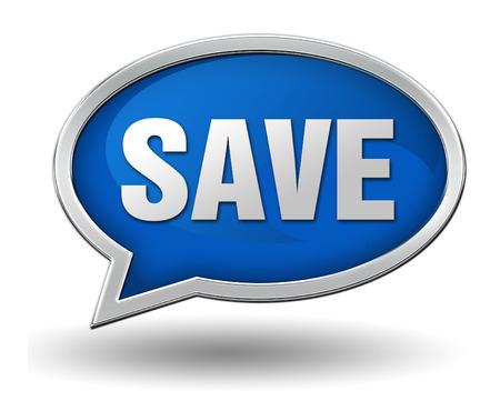 save badge 3d illustration isolated on white  background