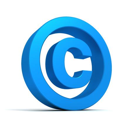 duplication: copyright symbol 3d illustration isolated on white background