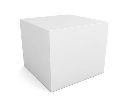 scale up: blank retail product box 3d illustration isolated on white background