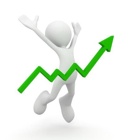 Man celebrating rising graph 3d illustration isolated on white background