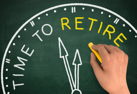 retire: time to retire chalkboard hand write 3d illustration concept