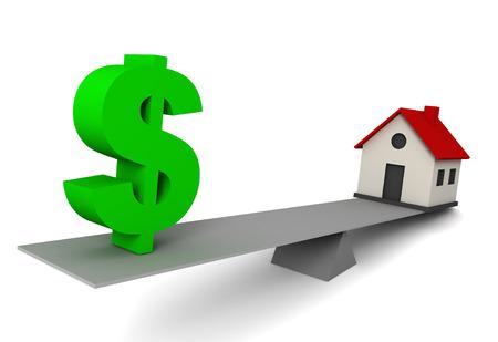 money and house balance 3d illustration isolated on white background