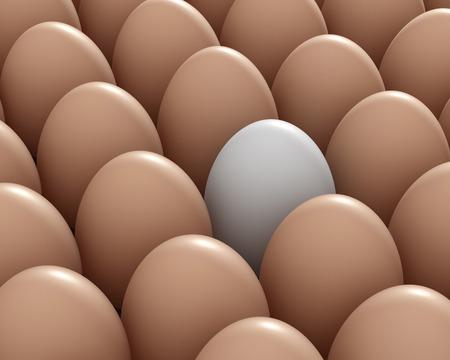 brown egg: different white egg and brown eggs 3d illustration