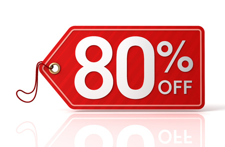shopping tag: 80% discount shopping tag 3d illustration isolated on white background