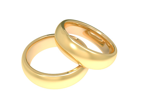 golden wedding rings 3d illustration isolated on white background Stock Photo