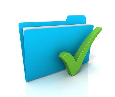 check mark and folder 3d illustration isolated on white background