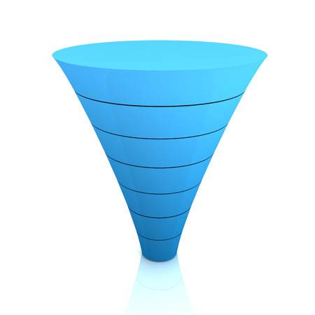 information medium: seperating funnel graph 3d illustration isolated on white background