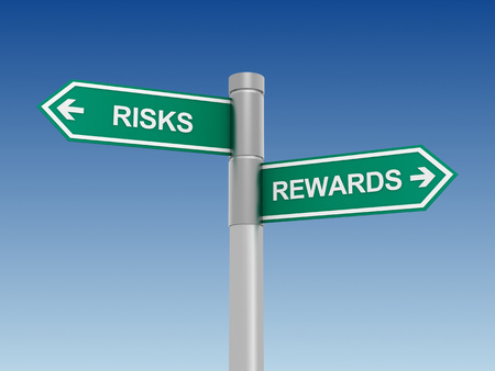 consequence: risks rewards green road sign 3d concept illustration