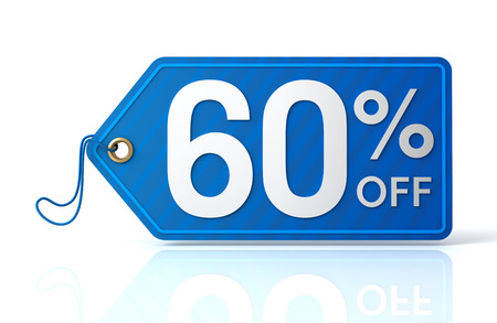 60: 3d illustration of 60% discount tag isolated on white  background Stock Photo