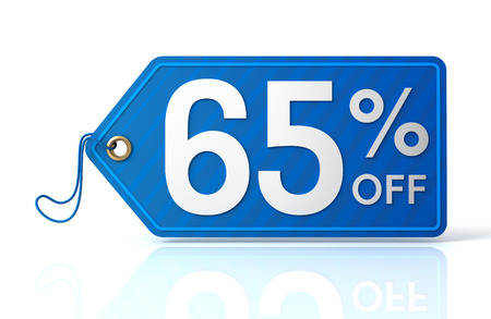 65: 3d illustration of 65% discount tag isolated on white  background