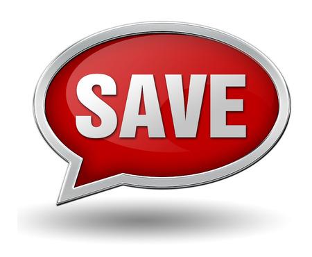 save badge 3d illustration on white  background