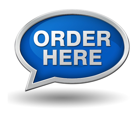 order here: order here badge 3d illustration isolated on white  background
