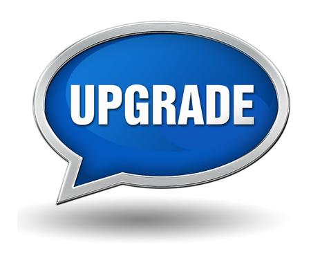 re design: upgrade badge 3d illustration isolated on white  background