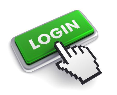biometrics: login 3d illustration isolated on white background