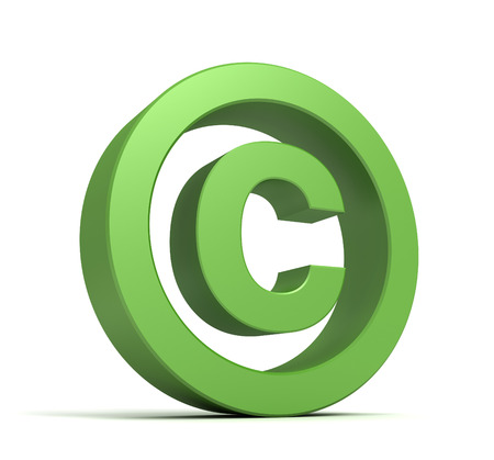 conventions: copyright symbol 3d illustration isolated on white background