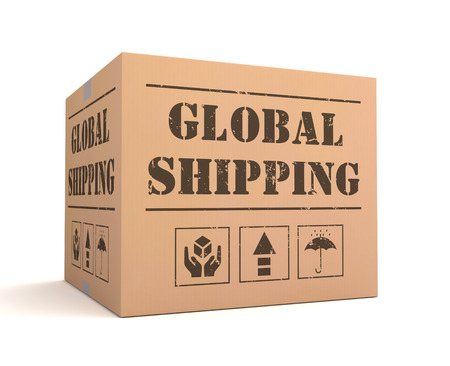 sack truck: global shipping 3d illustration isolated on white background