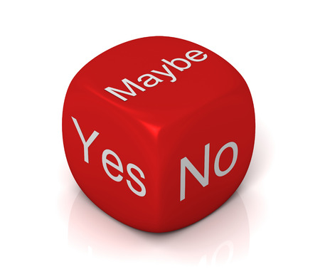 yes no maybe cube 3d illustration isolated on white background