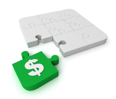 dollar puzzle 3d illustration isolated on white background