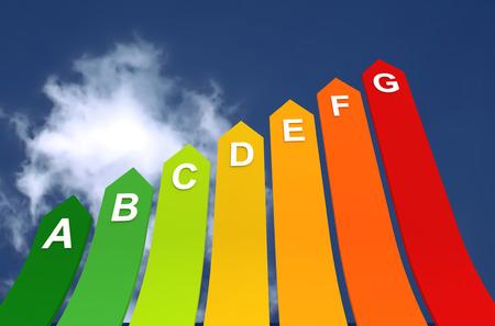 energy efficiency bar chart 3d illustration on sky background