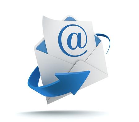 e-mail en envelop 3D-afbeelding op een witte achtergrond