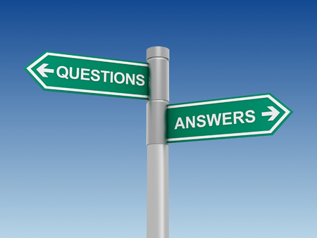 questions answers: questions answers green road sign 3d illustration