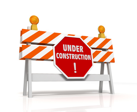 construction barrier: under construction barrier 3d illustration isolated on white background