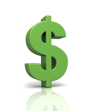 ganancias: signo de dólar 3d aislado en el fondo blanco