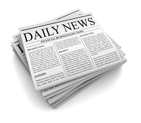 tabloid: newspaper 3d illustration isolated on white background Stock Photo