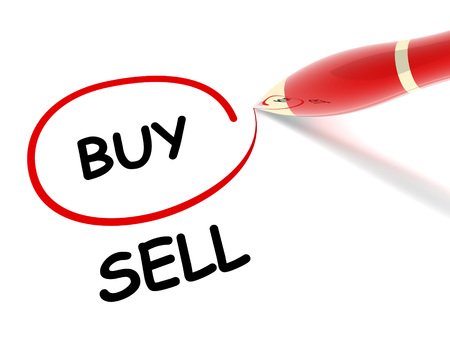 buy sell 3d illustration isolated on white background