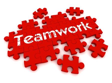 チームワークのパズル 3 d イラスト白い背景に分離