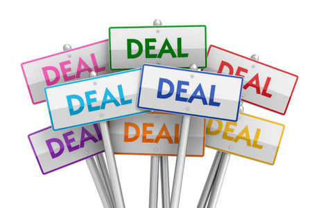 placards: deal placards 3d illustration isolated on white background