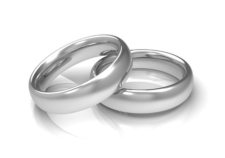 silver wedding rings 3d illustration isolated on white background Фото со стока - 62850056