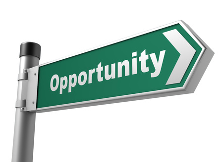 opportunity concept: opportunity road sign 3d concept illustration on white background