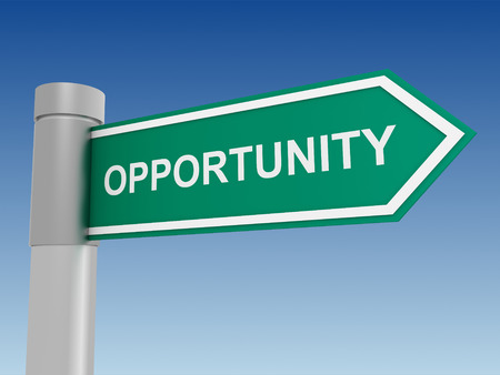 opportunity: opportunity sign 3d illustration on sky background