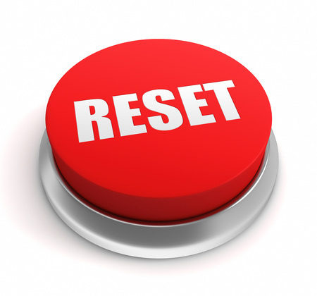 redesign: reset button 3d illustration isolated on white background