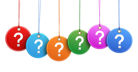 question tags 3d illustration isolated on white background