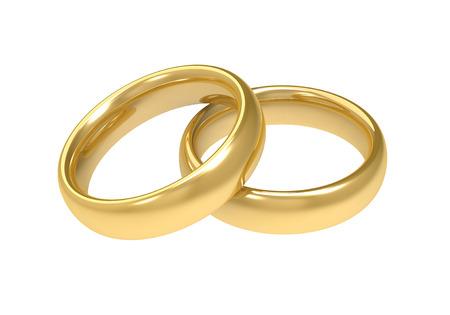wedding rings: golden wedding rings 3d illustration isolated on white background Stock Photo