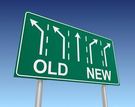 Ancien nouveau panneau routier 3d concept illustration sur fond de ciel Banque d'images - 62850517