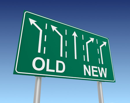 old and new: old new road sign 3d concept illustration on sky background Stock Photo