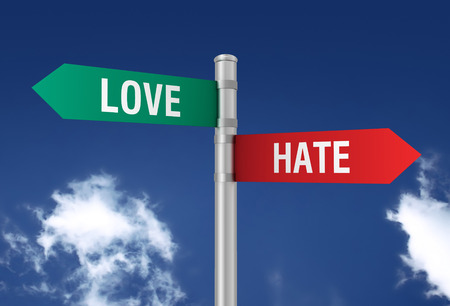 hate: love hate road sign 3d concept illustration on sky background Stock Photo
