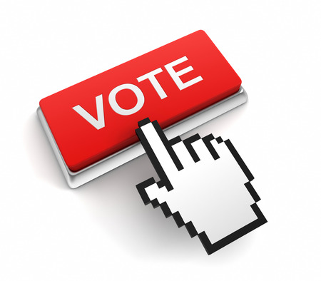 vote button: vote button 3d illustration isolated on white background Stock Photo