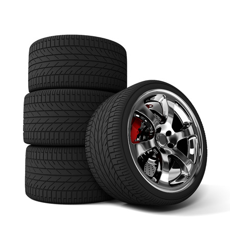 durability: car tires 3d illustration isolated on white background