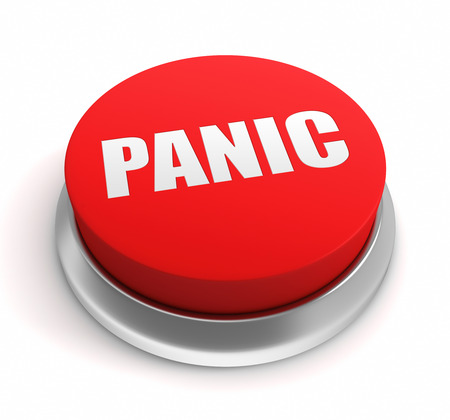 press button: panic button 3d illustration isolated on white background Stock Photo